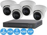 Комплект Видеонаблюдения IP 2MPX Для Дома и Офиса со встроенными микрофонами 4+4