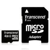 micro SDHC карта памяти Transcend 4GB Class 6 (с адаптером)