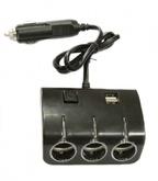 Разветвитель прикуривателя 12/24В 3 гнезда + 2 USB, 1506